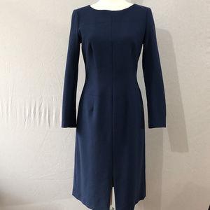 Brooks Brothers Blue long Sleeve Wool Dress Size 4